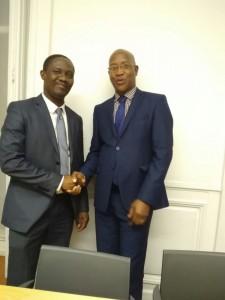 Le président du groupe d'Amitié France-Haiti, M. le député Gabriel Seville et le président de la FEDHE, M. Jocelyn JEAN LOUIS